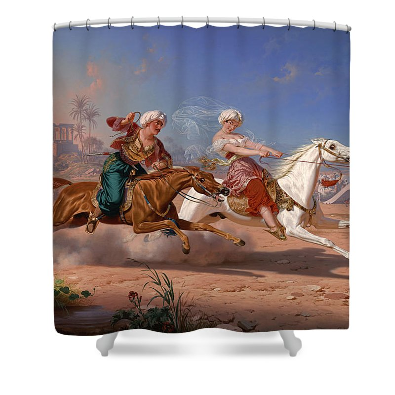The Love Chase Shower Curtain featuring the painting The Love Chase by Charles Christian Nahl
