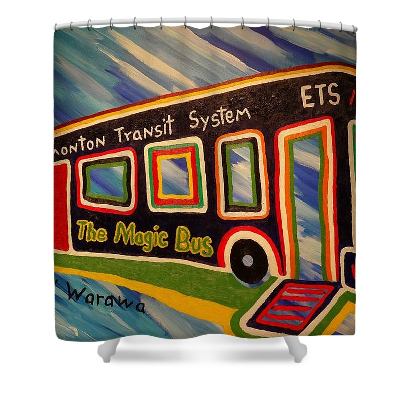 Bus Shower Curtain featuring the painting The Magic Bus by Douglas W Warawa