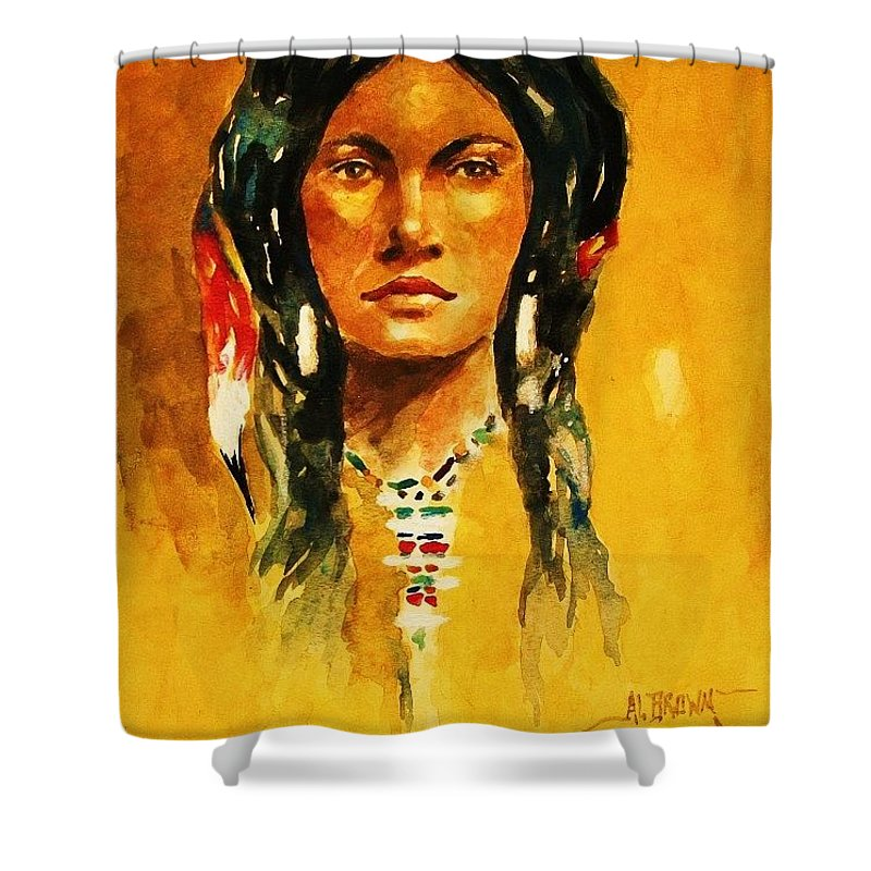 Indian Maiden Shower Curtain featuring the painting The Maiden Ll by Al Brown