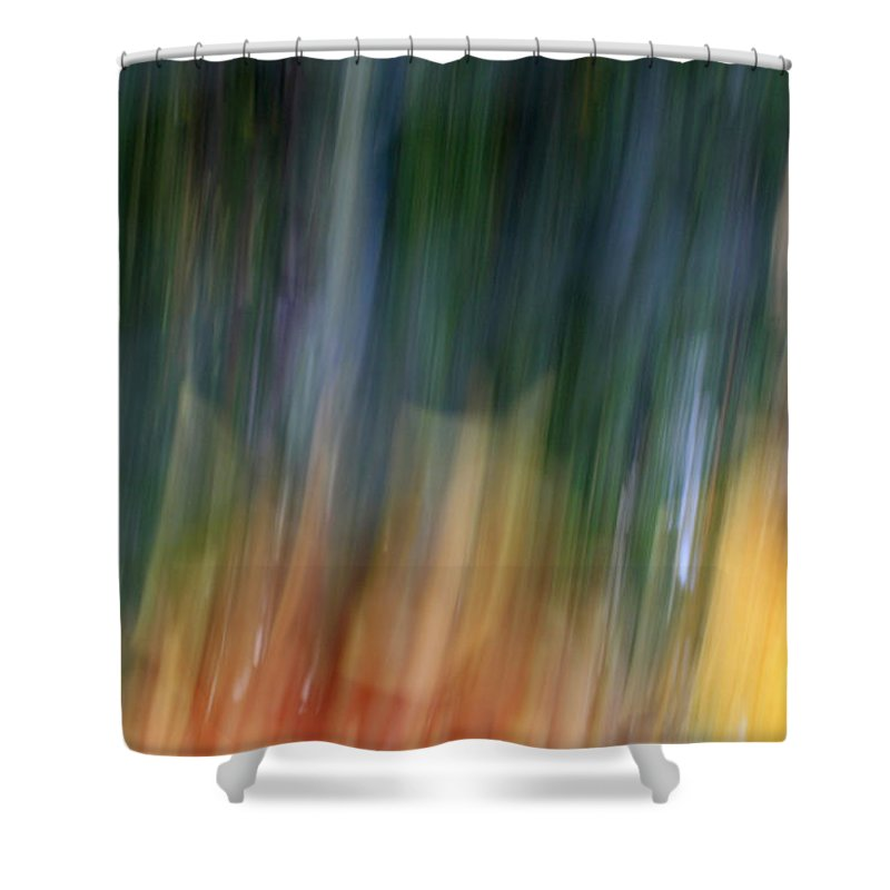 Abstract Shower Curtain featuring the photograph The Man In Yellow Suit by Munir Alawi