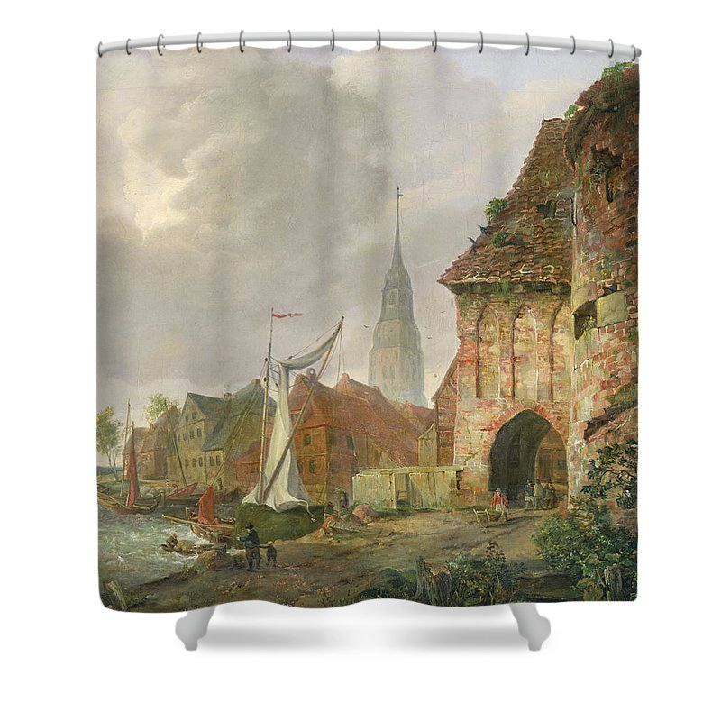 The March Gate In Buxtehude Shower Curtain featuring the painting The March Gate In Buxtehude by Adolph Kiste