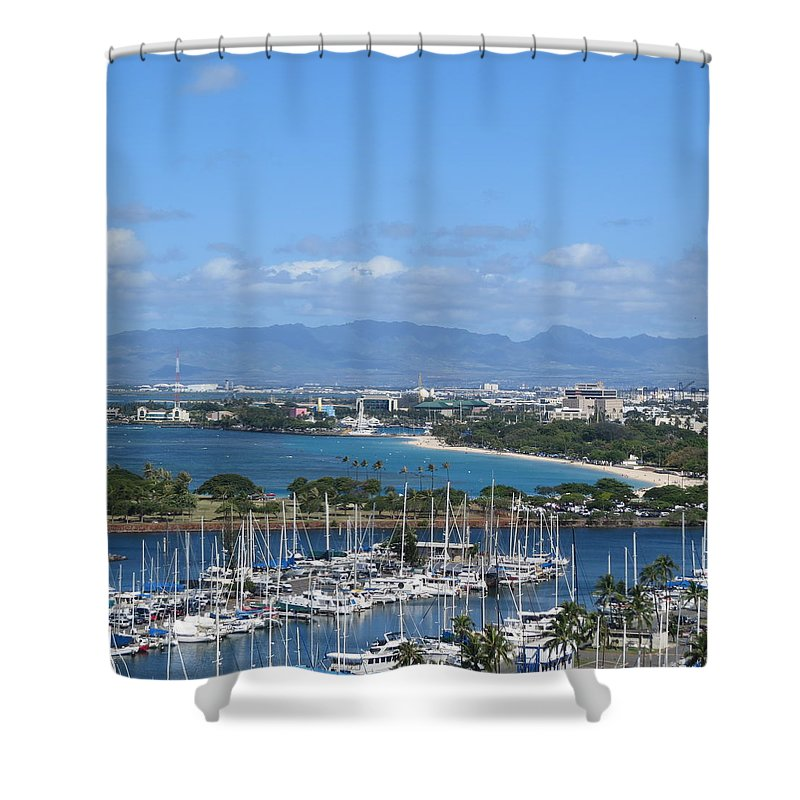 Landscape Shower Curtain featuring the photograph The Marina At Waikiki by Karen Winkfield