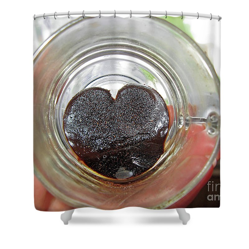 Coffee Shower Curtain featuring the photograph The Message In The Bottom Of The Cup by Ausra Huntington nee Paulauskaite