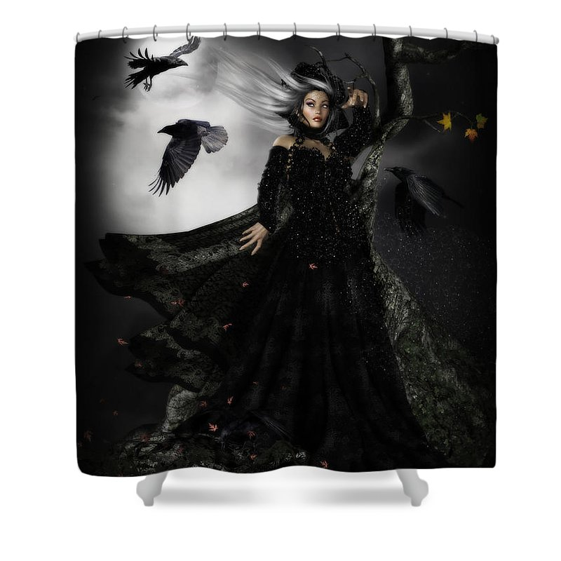 Raven Shower Curtain featuring the digital art The Messengers by Shanina Conway