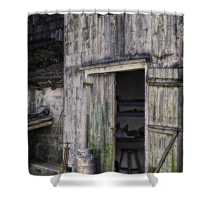 Milk Can Shower Curtain featuring the photograph The Milk Can by Eduardo Tavares