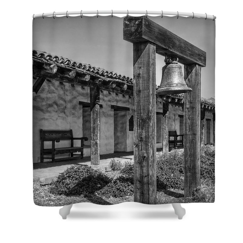 San Francisco Shower Curtain featuring the photograph The Mission Bell B/w by Hanny Heim