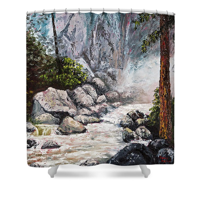 Landscape Shower Curtain featuring the painting The Mist At Bridalveil Falls by Darice Machel McGuire