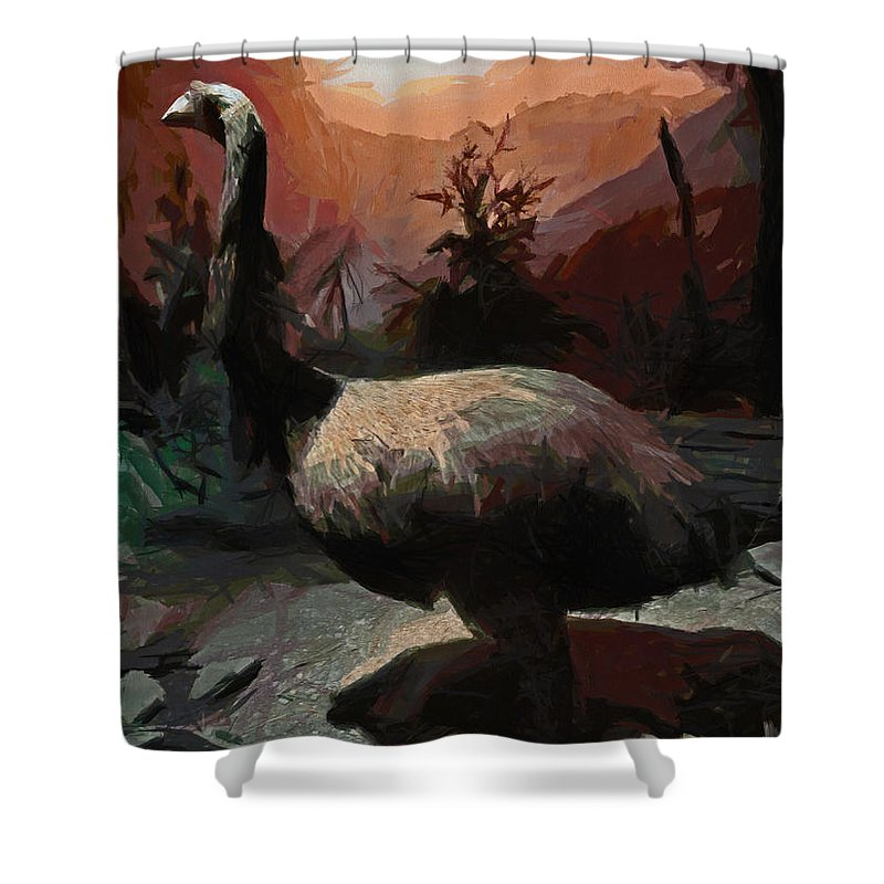Moa Shower Curtain featuring the digital art The Moa by Steve Taylor