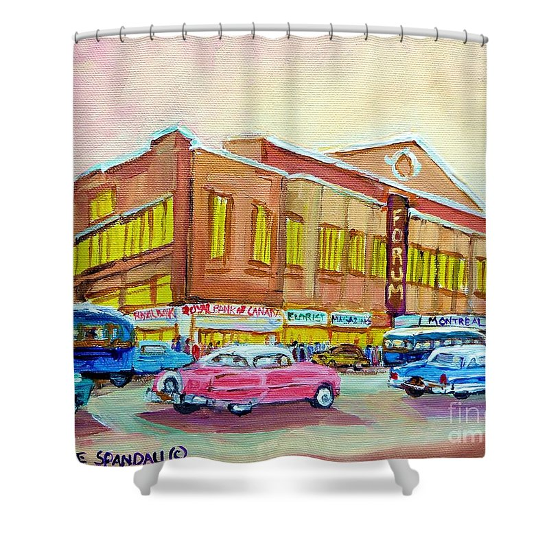 Montreal Shower Curtain featuring the painting The Montreal Forum by Carole Spandau