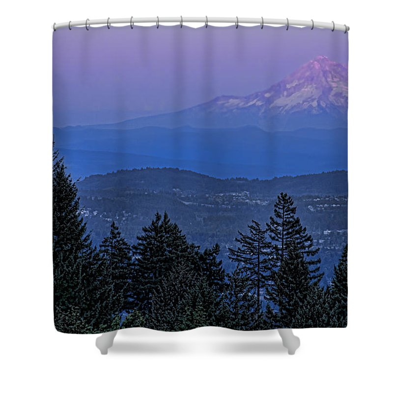 Mt. Hood Shower Curtain featuring the photograph The Moon Beside Mt. Hood by Don Schwartz