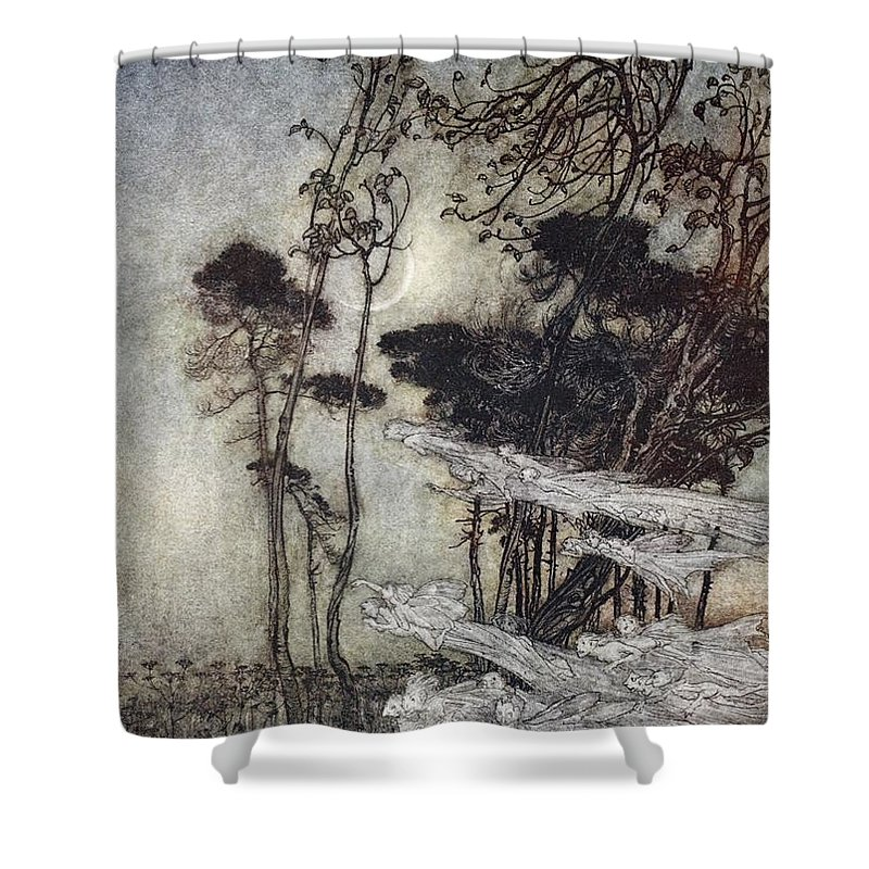 the Moon, Like To A Silver Bow Shower Curtain for Sale by Arthur Rackham