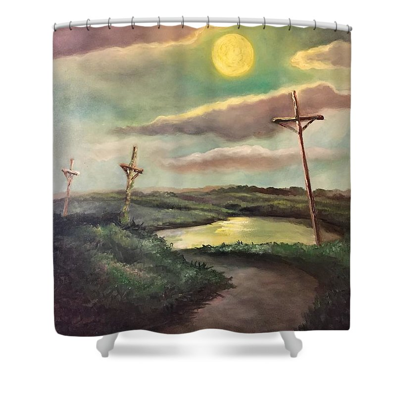 Cross Shower Curtain featuring the painting The Moon With Three Crosses by Randy Burns