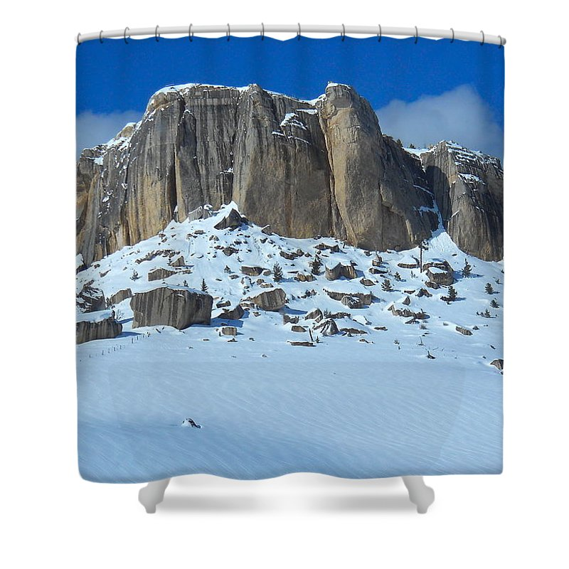 Steamship Point Shower Curtain featuring the photograph The Mountain Citadel by Michele Myers