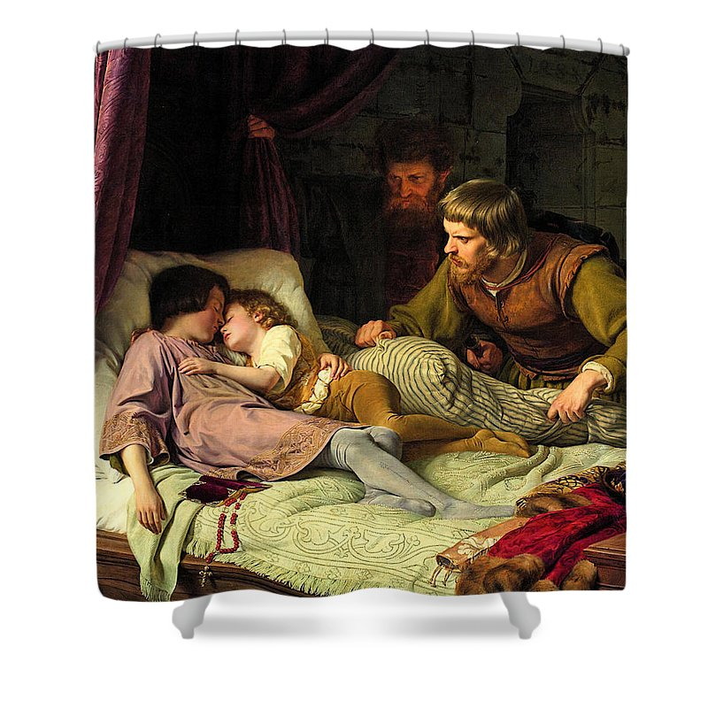 Ferdinand Theodor Hildebrandt Shower Curtain Featuring The Painting Murder Of Sons Edward Iv