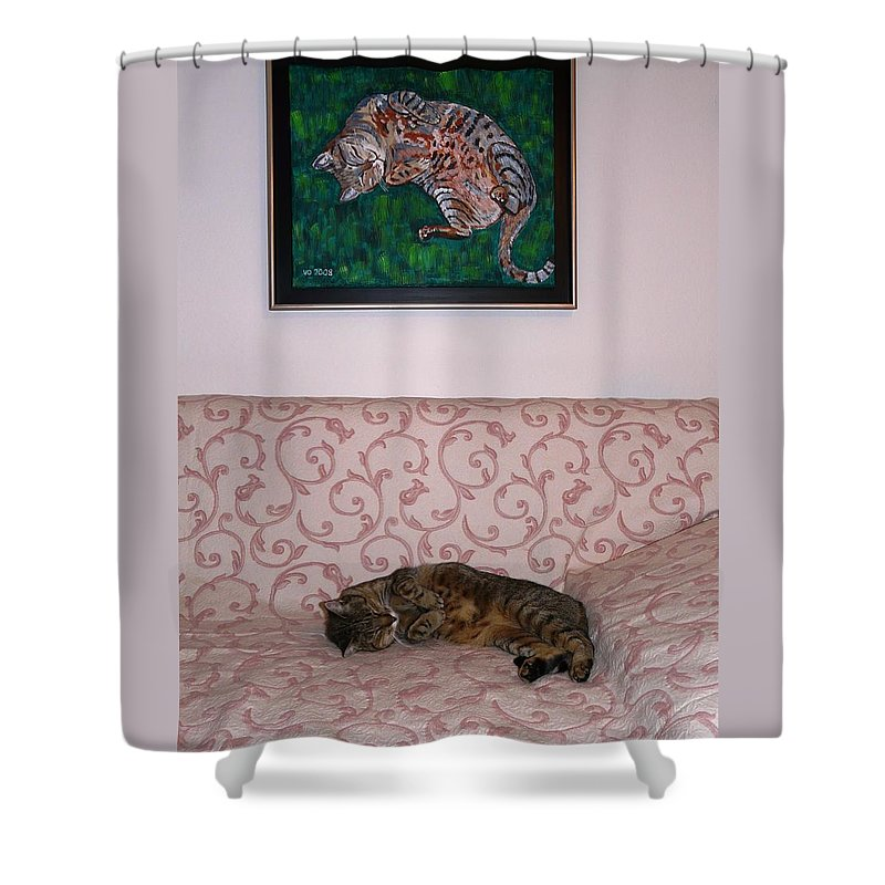 Cat Shower Curtain featuring the photograph The Muse And Her Portrait by Valerie Ornstein