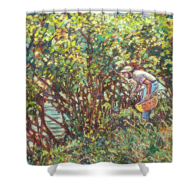 Landscape Shower Curtain featuring the painting The Mushroom Picker by Kendall Kessler