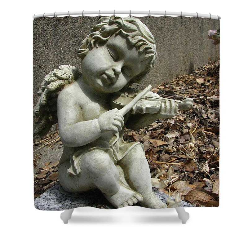 Cupid Shower Curtain featuring the photograph The Musician 04 by Peter Piatt