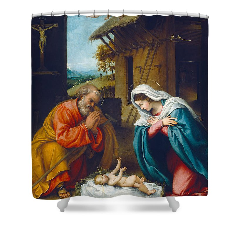 The Nativity 1523 Shower Curtain For Sale By Lorenzo Lotto