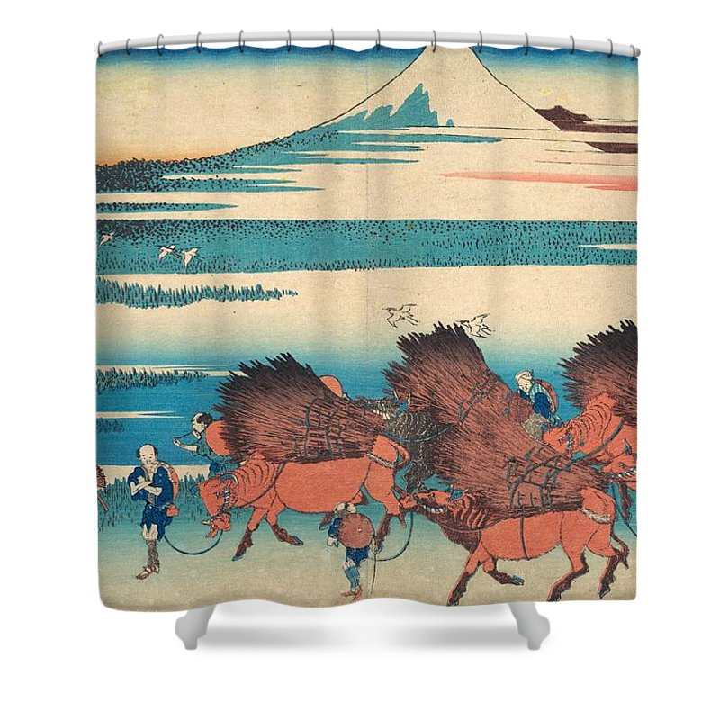 1830-1832 Shower Curtain featuring the painting The New Fields At Ono In Suruga Province by Katsushika Hokusai