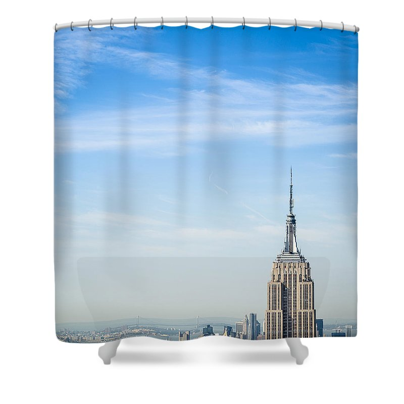 Lower Manhattan Shower Curtain featuring the photograph The New York City Empire State Building by Franckreporter