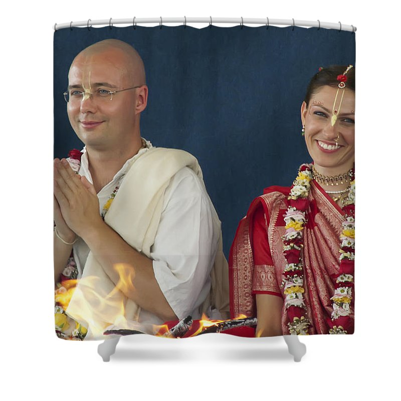 Bride Shower Curtain featuring the photograph The Newly Married Couple by Daniel Csoka