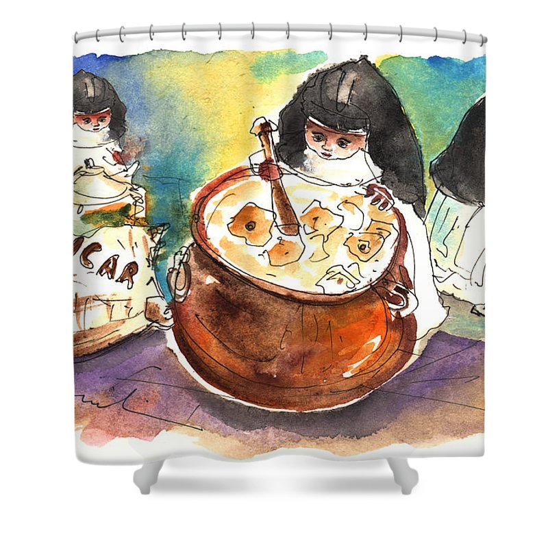 Travel Shower Curtain featuring the painting The Nuns Of Toledo 01 by Miki De Goodaboom