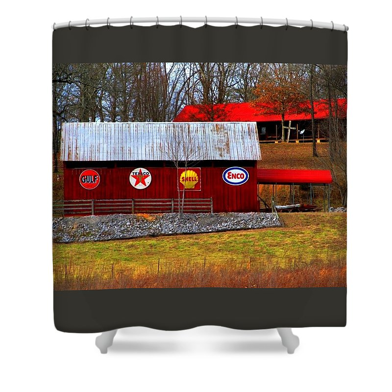 Building's Shower Curtain featuring the photograph The Old Barn by Kathy R Thomas
