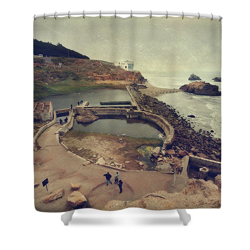Sutro Baths Shower Curtain featuring the photograph The Old Bath House by Laurie Search