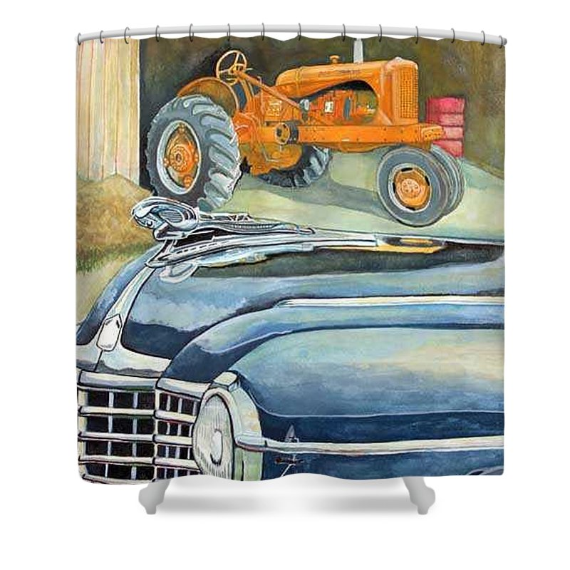Rick Huotari Shower Curtain featuring the painting The Old Farm by Rick Huotari