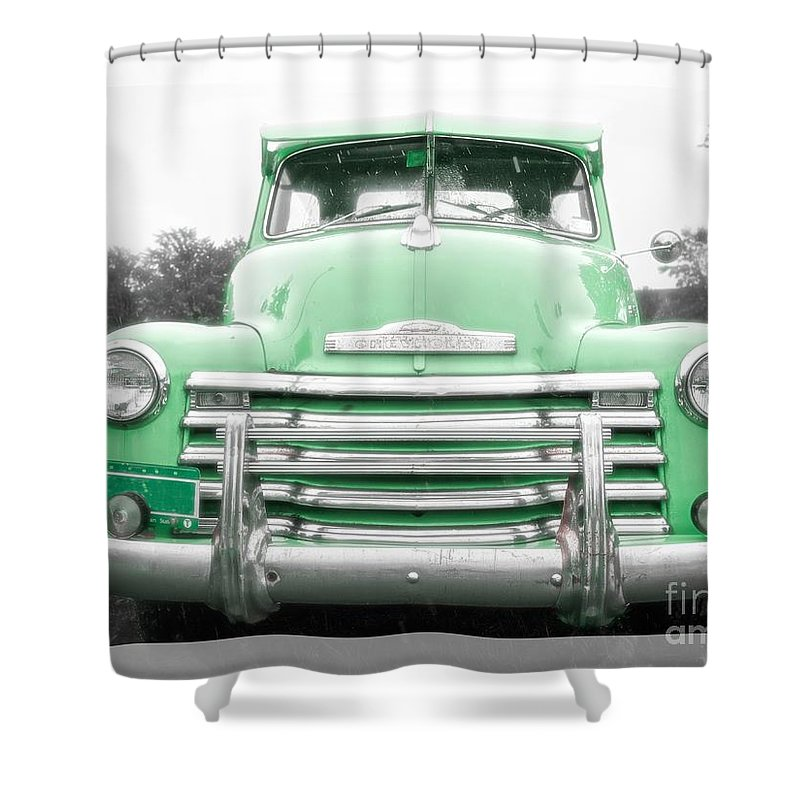 Chevy Shower Curtain Featuring The Photograph Old Green Pickup Truck By Edward Fielding