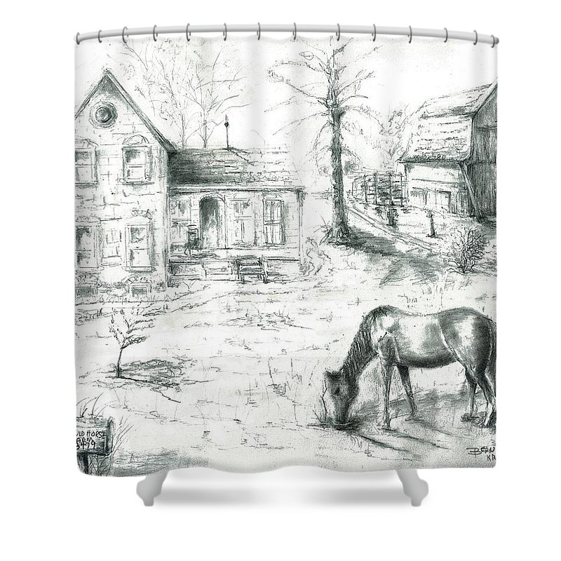 Old Horse Farm Tree Barn House Champion Winner Circle Shower Curtain featuring the painting The Old Horse Farm by Bernadette Krupa