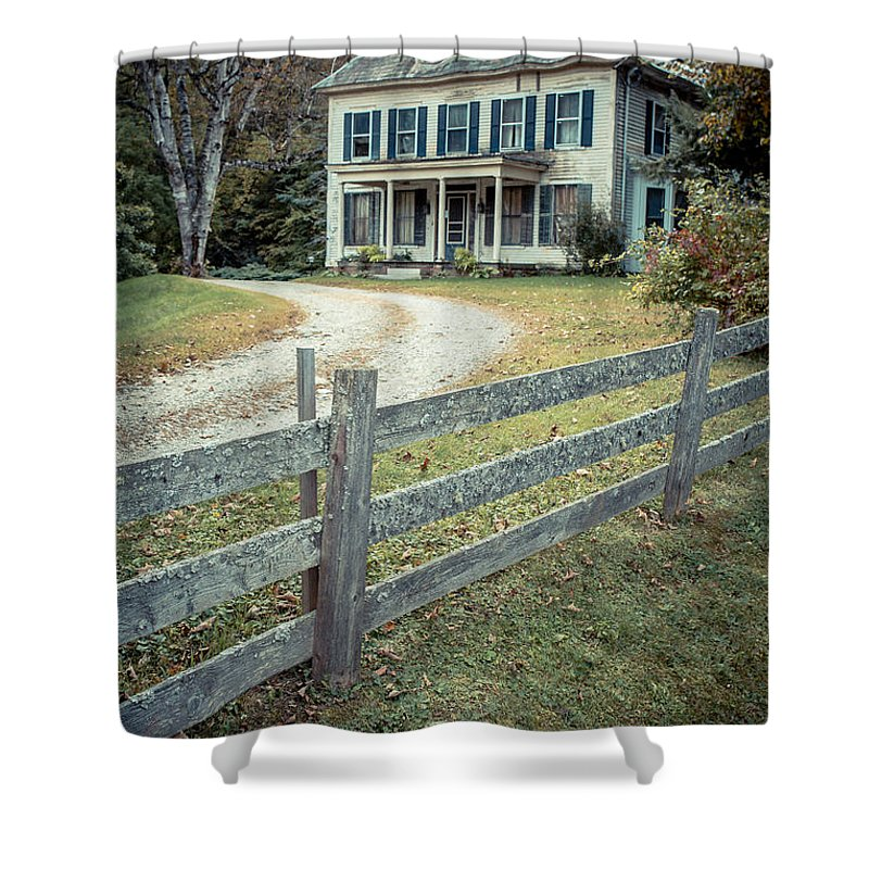 New Hampshire Shower Curtain featuring the photograph The Old House On The Hill by Edward Fielding