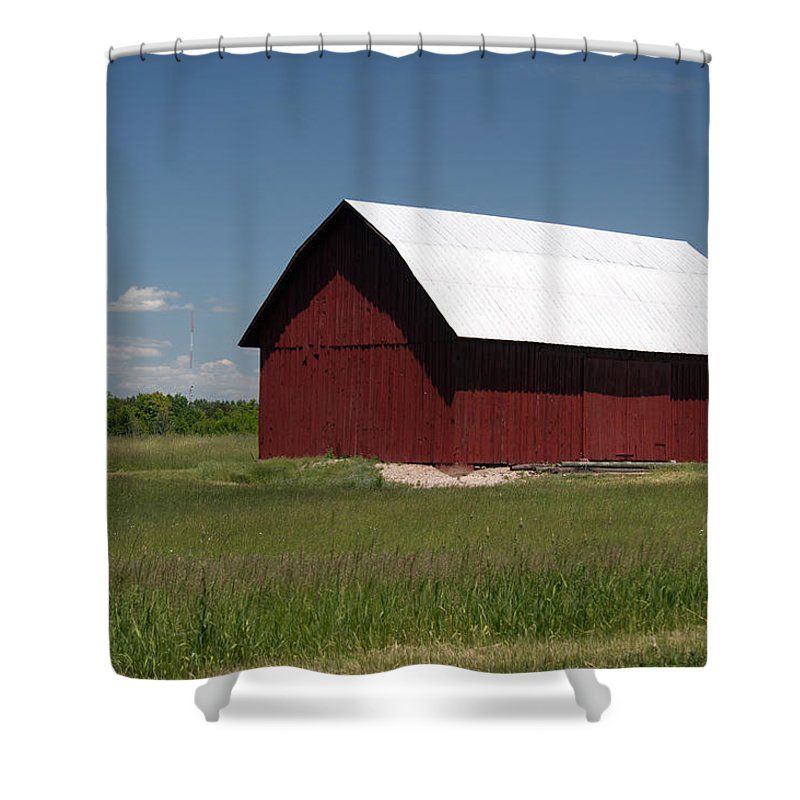 Farm Shower Curtain featuring the photograph The Old Red Barn by Linda Kerkau