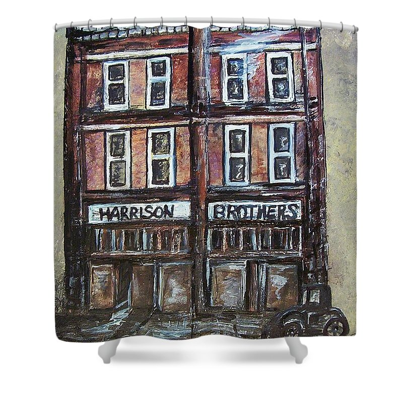 Historic Shower Curtain featuring the painting The Old Store by Eloise Schneider Mote