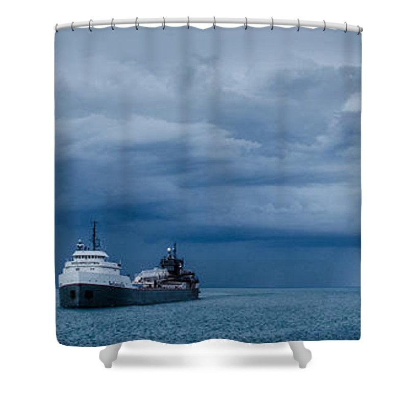 Michipicoten Shower Curtain featuring the photograph The Oncoming Storm by Gales Of November