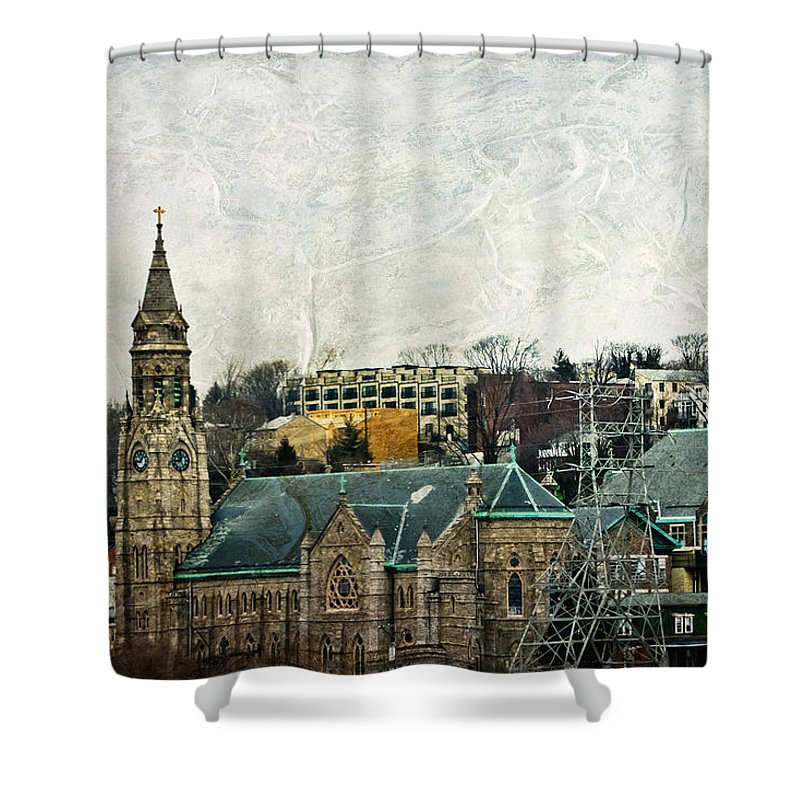 House Shower Curtain featuring the mixed media The Only Good Thing About The Highway Is The Scenery by Trish Tritz