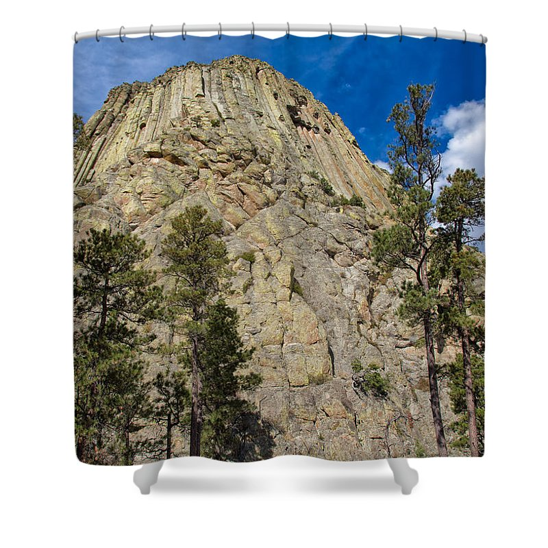 Landscape Shower Curtain featuring the photograph The Other Side Of Devils Tower by John M Bailey