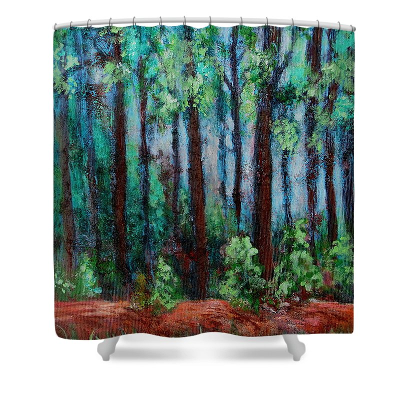 No Name Creek Shower Curtain featuring the painting The Other Side by Pamela Iris Harden