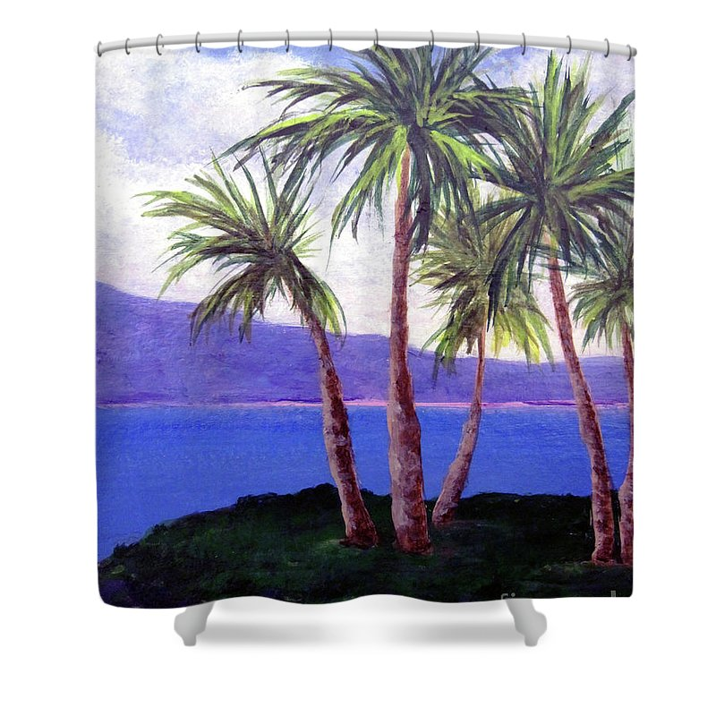 Ocean Shower Curtain featuring the painting The Palms by Susan Plenzick