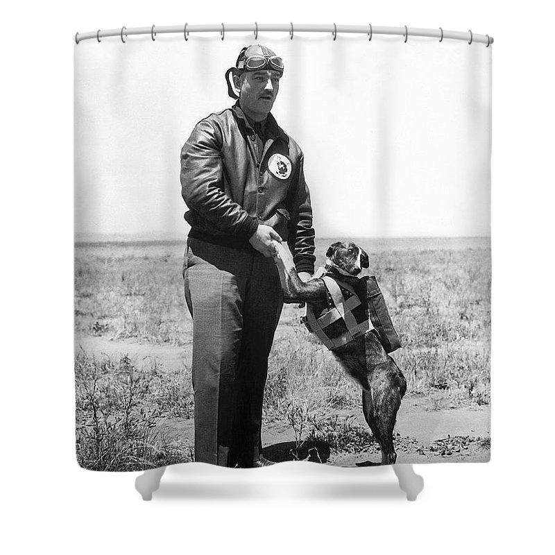 1 Person Shower Curtain featuring the photograph The Parachute Pup by Underwood Archives