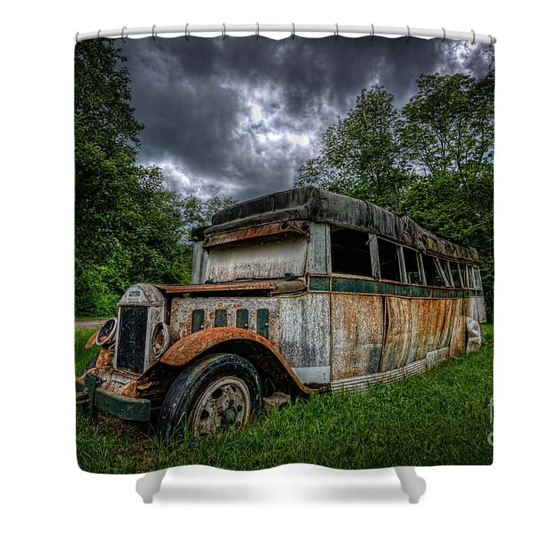 The Party Bus Shower Curtain featuring the photograph The Party Bus by Michael Ver Sprill