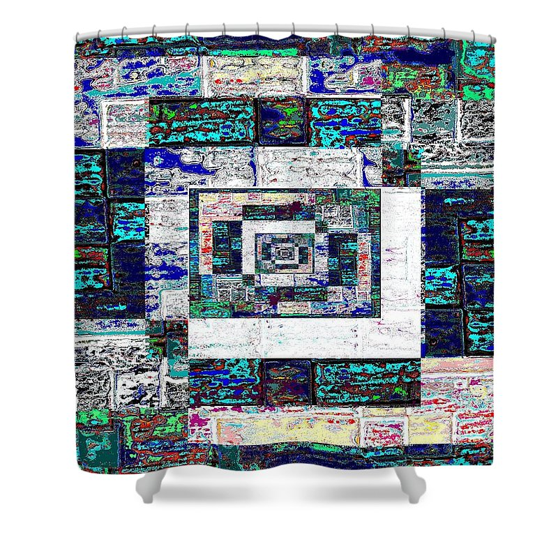 Patchwork Shower Curtain featuring the digital art The Patchwork by Tim Allen