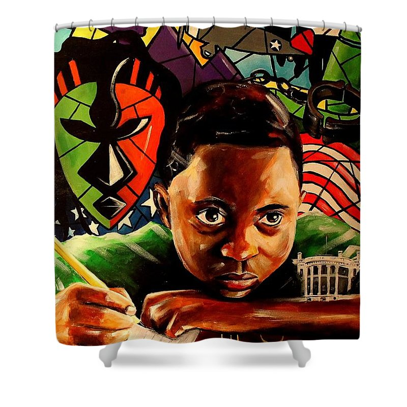 African American Art Shower Curtain featuring the painting The Path Forward by Henry Blackmon