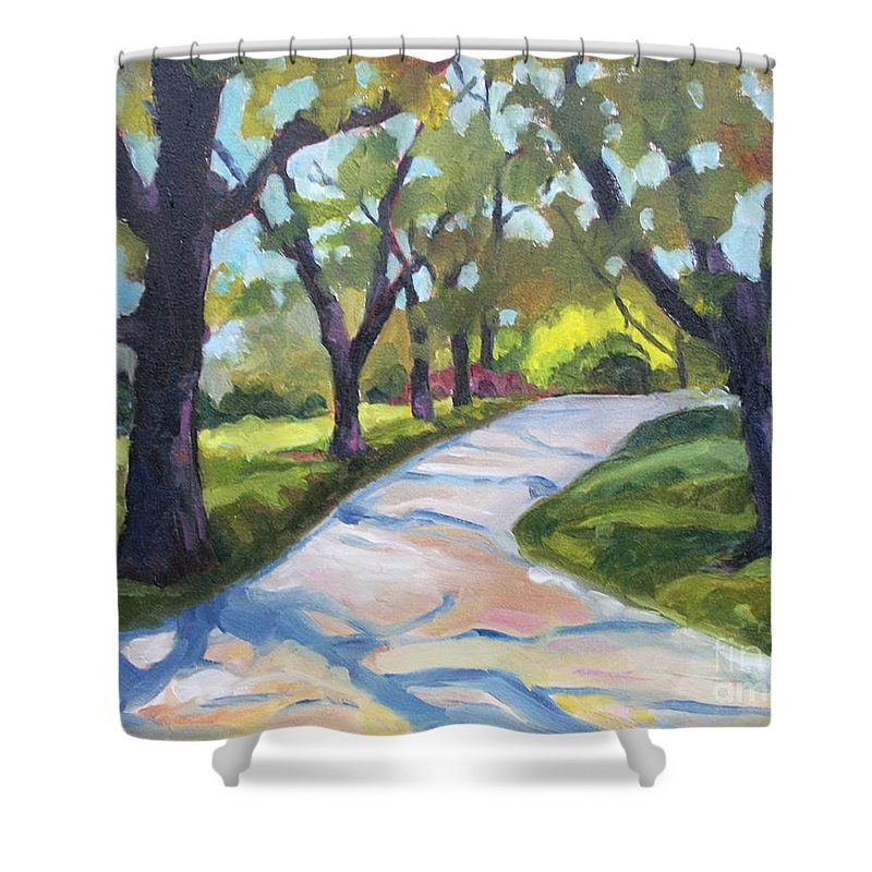 Trees Shower Curtain featuring the painting The Path by Jan Bennicoff