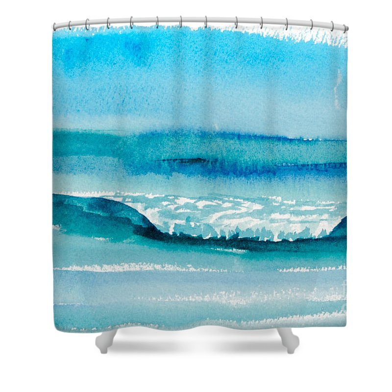 Nature Shower Curtain featuring the painting The Perfect Wave by Walt Brodis