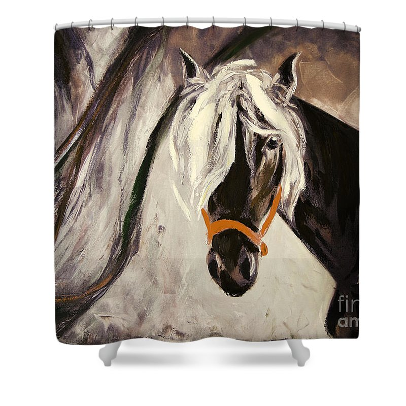 Horses Shower Curtain featuring the painting The Performer by Gina De Gorna