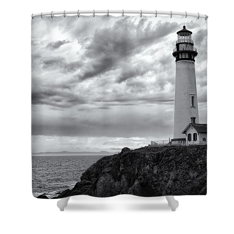 California Shower Curtain featuring the photograph The Pigeon Point Beacon by Eduard Moldoveanu