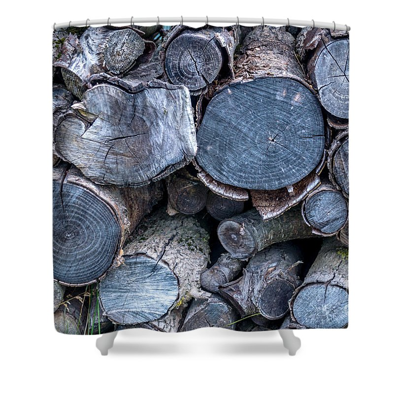 Michelle Meenawong Shower Curtain featuring the photograph The Pile Of Logs by Michelle Meenawong