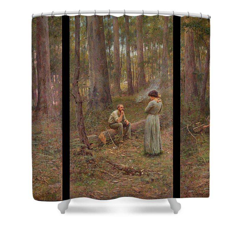 Frederick Mccubbin Shower Curtain featuring the painting The pioneer by Frederick McCubbin