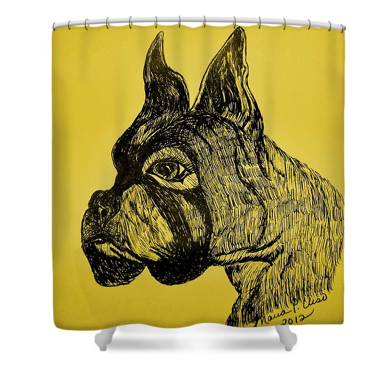 Playful Shower Curtain featuring the drawing The Playful Guardian by Maria Urso
